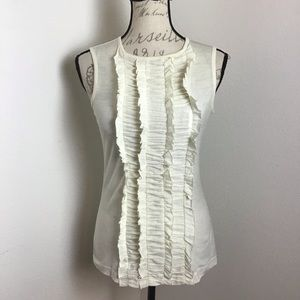 Tory Burch - Off White Ruffled Front Tank
